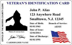 Sample Veterans ID Card. Shows name, address, date of birth, branch of service, and date of discharge.